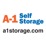 "A-1 Self Storage logo with additional text reading ""a1storage.com"""